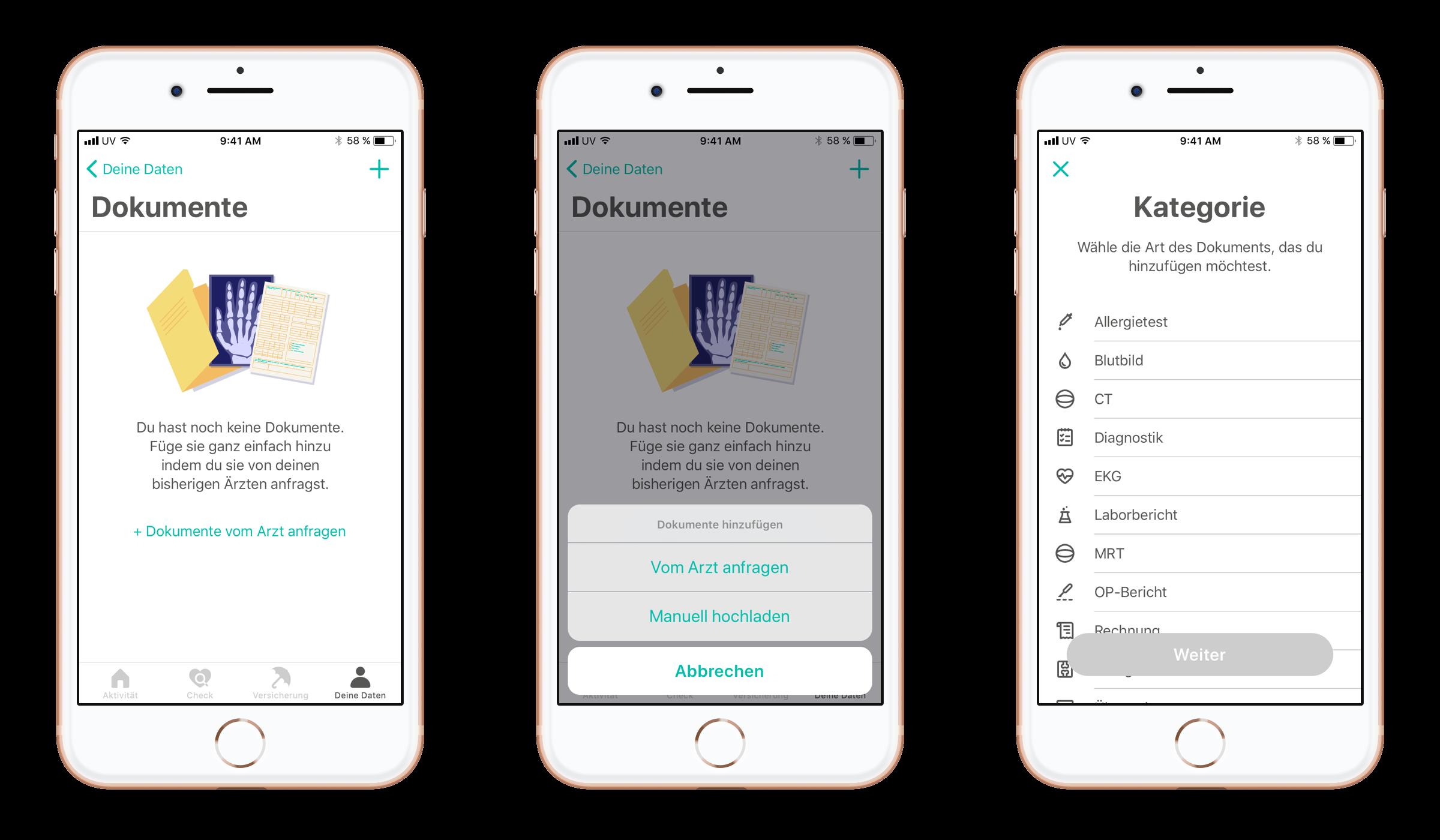 Ein Auszug aus der BKK Diakonie App, der die Kategorie Dokumente abbildet.