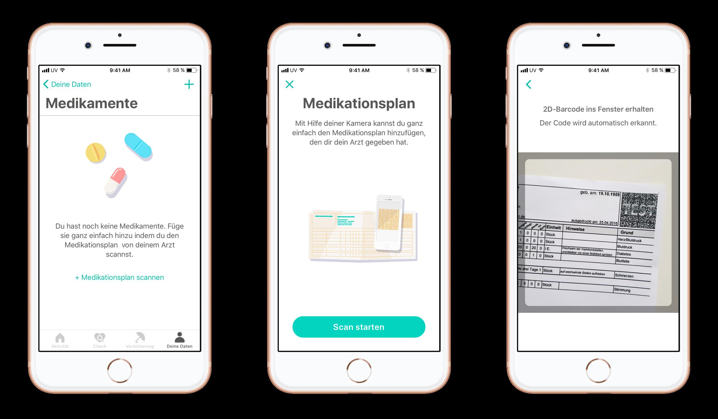 Ein Auszug aus der BKK Diakonie App, der einen Medikationsplan zeigt.