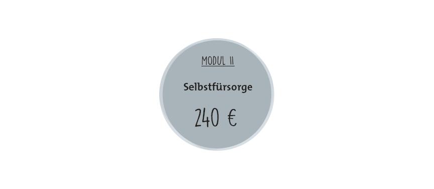 """Kreis mit Aufschrift """"Selbstfürsorge (240 Euro)""""."""