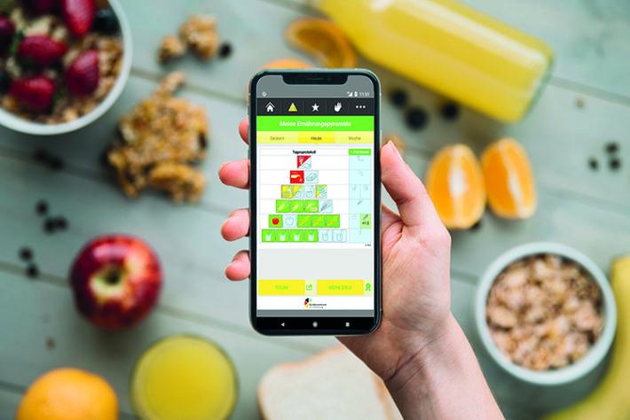 Eine Hand, die ein Handy hält auf dem die Ernährungspyramide abgebildet wird. Im Hintergrund liegen verschiedene Lebensmittel wie frisches Obst, eine Schale mit Müsli und eine Glasflasche mit Orangensaft.