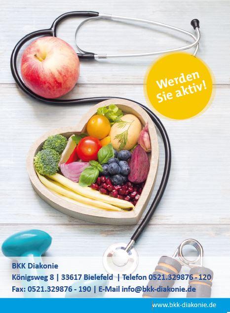 Vorderansicht des Bonushefts für Erwachsene mit einer gefüllten Schale mit Obst und Gemüse und einem Stethoskop.
