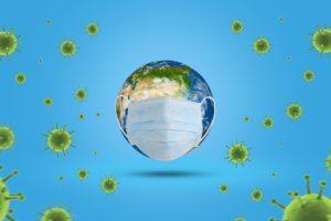 Im Zentrum steht eine Weltkugel mit einem Mundschutz umgeben von grünen Viren.
