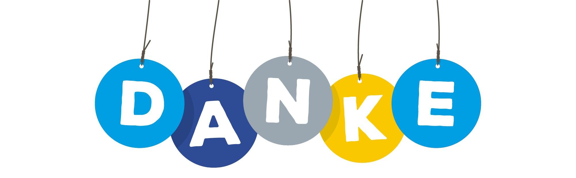 """Abgebildet sind verschieden farbige Kreise, die das Wort """"Danke"""" ergeben."""