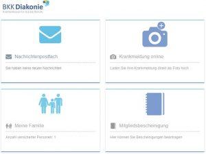Abgebildet ist ein Ausschnitt der BKK Diakonie App, mit den Menüpunkten Postfach, Krankmeldung, Mitgliedsbescheinigung und Meine Familie.