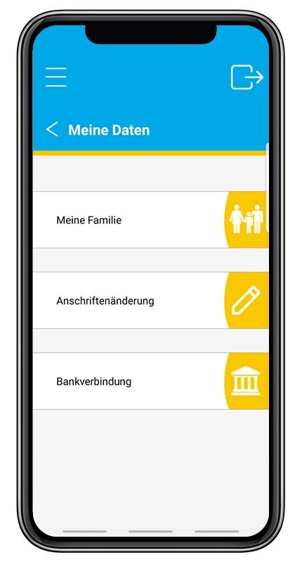 """Screenshot aus der BKK Diakonie App zu der Option """"Meine Daten"""". Unterpunkte stellen """"Meine Familie"""", """"Anschriftenänderung"""" und """"Bankverbindung"""" dar."""