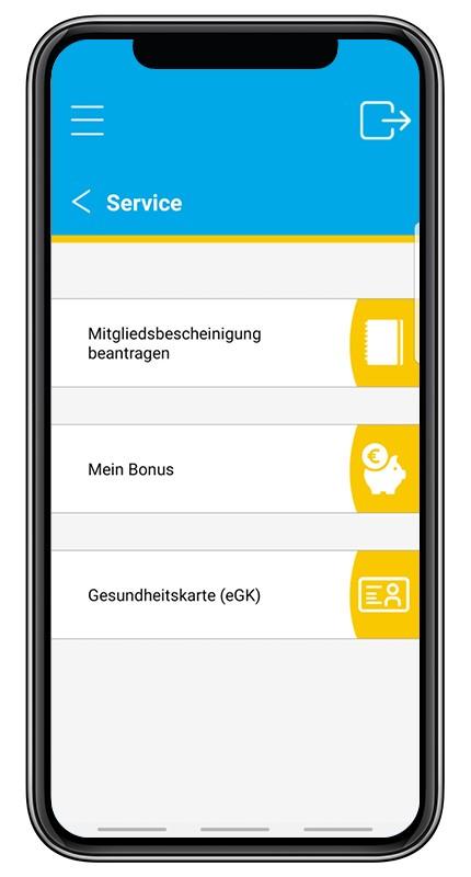 """Screenshot aus der BKK Diakonie App zu der Option """"Service"""". Unterpunkte sind """"Mitgliedsbescheinigung beantragen, Mein Bonus oder eGK""""."""