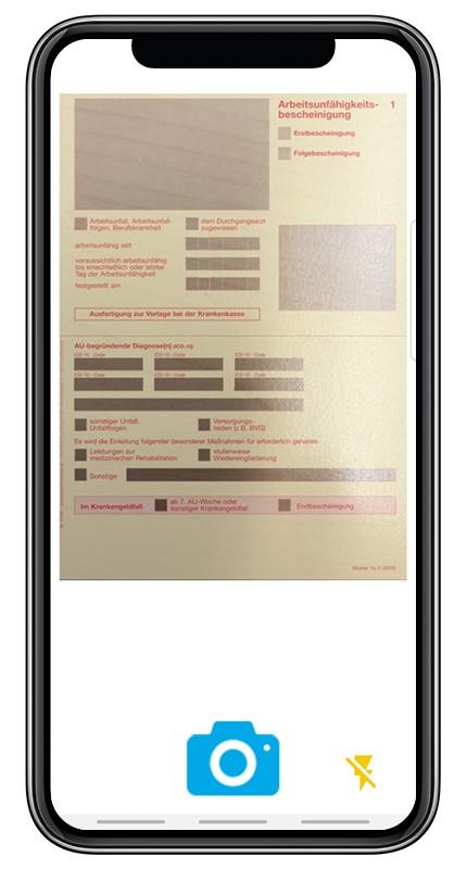 Screenshot aus der BKK Diakonie App zur Option Krankmeldung online einreichen.