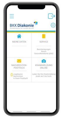 Screenshot der Startseite der BKK Diakonie App. Ansicht des Menüs mit den Kategorien: Meine Daten, Service, Nachrichten Postfach und Krankmeldung online.