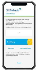Screenshot des Authentifizierungsvorgangs in der BKK Diakonie App zur sicheren Übertragung von persönlichen Daten.