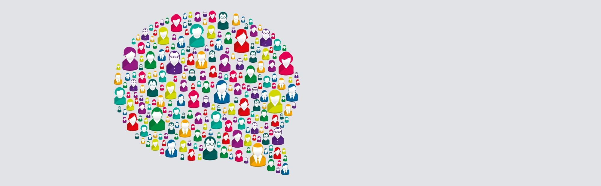 Zu sehen ist eine Sprechblase, die sich aus vielen einzelnen Personen zusammensetzt.