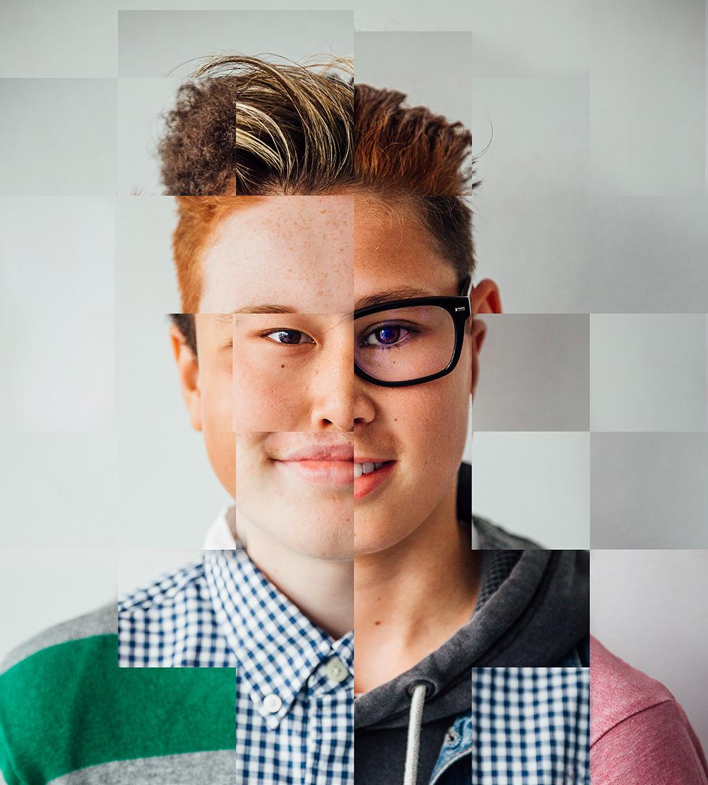 Dieses Bild zeigt ein Portrait eines Mannes, welches aus Teilen verschiedener Menschen unterschiedlicher Herkunft und Aussehens zusammengesetzt ist.