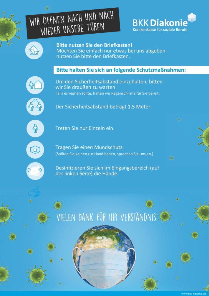 Info-Plakat der BKK-Diakonie zur Einhaltung der Schutzmaßnahmen.
