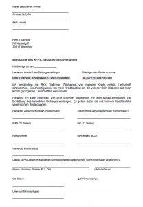 Mandat für das SEPA-Basislastschriftverfahren der BKK Diakonie.