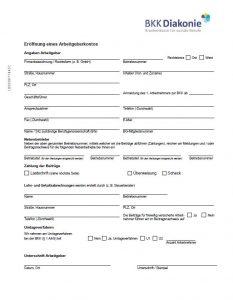 Formular zur Eröffnung eines Arbeitgeberkontos bei der BKK Diakonie.