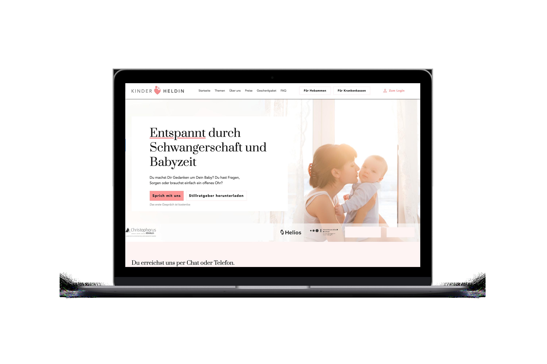 """Abgebildet ist ein Laptop der die Seite """"Kinder Heldin"""" für schwangere anzeigt."""