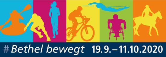 Zu sehen ist ein Werbeplakat mit verschiedenen Sportlern. Es handelt sich um die bethelbewegt Veranstaltungen vom 19.09. bis 11.10.2020