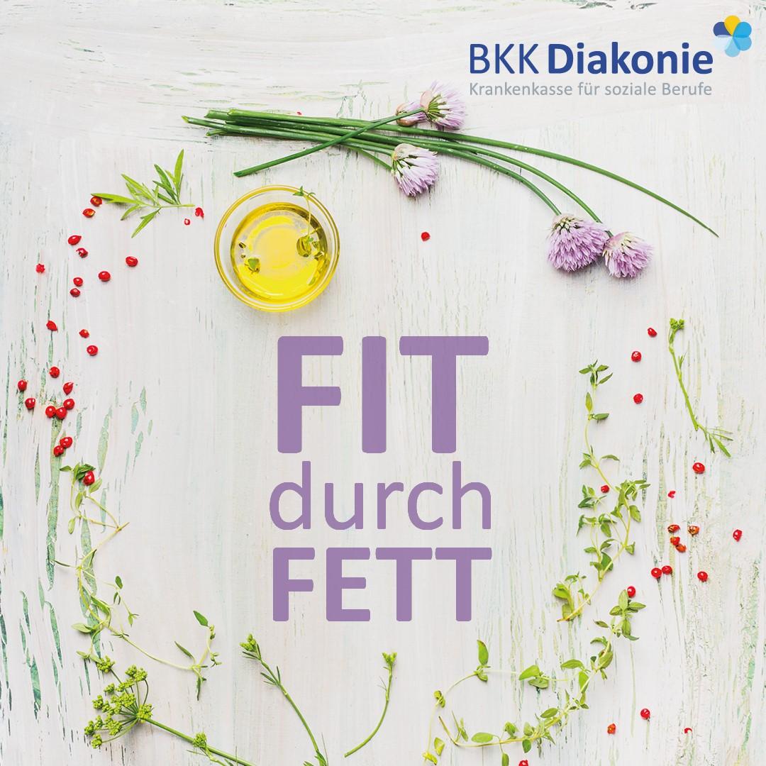 """Cover der """"Fit durch Fett"""" Broschüre der BKK Diakonie."""