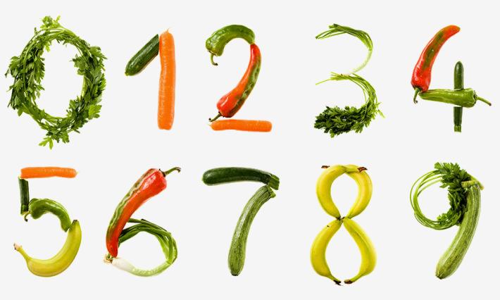 Darstellung einer Zahlenreihe von 0-9 aus verschiedenen Gemüse- und Obstsorten, wie Möhren, Gurken, Petersilie,Zucchini und Bananen. .