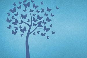 Zu sehen ist ein gezeichneter blauer Baum auf hellblauem Hintergrund. Statt aus Blättern besteht die Baumkrone aus Schmetterlingen.